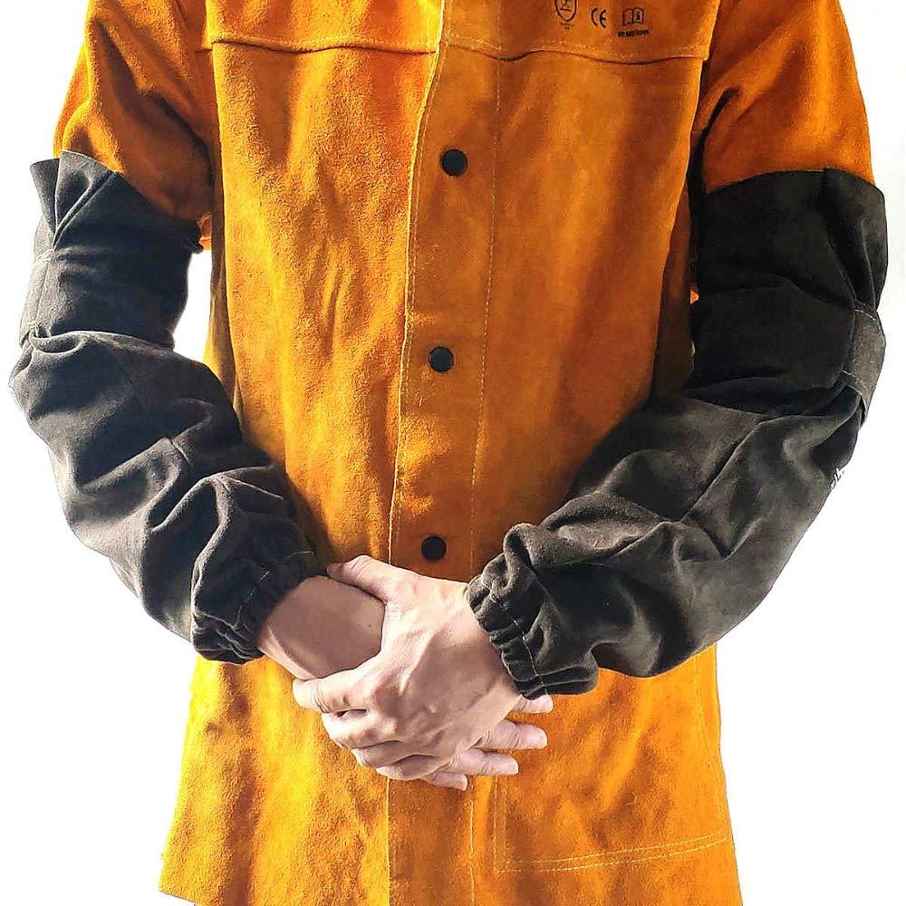 LKSDD Welders Gauntlet,Professional Welder Arm Cover, Leather Shell Sleeve, CE Certified Welded Sleeve (19'' Long),Brown