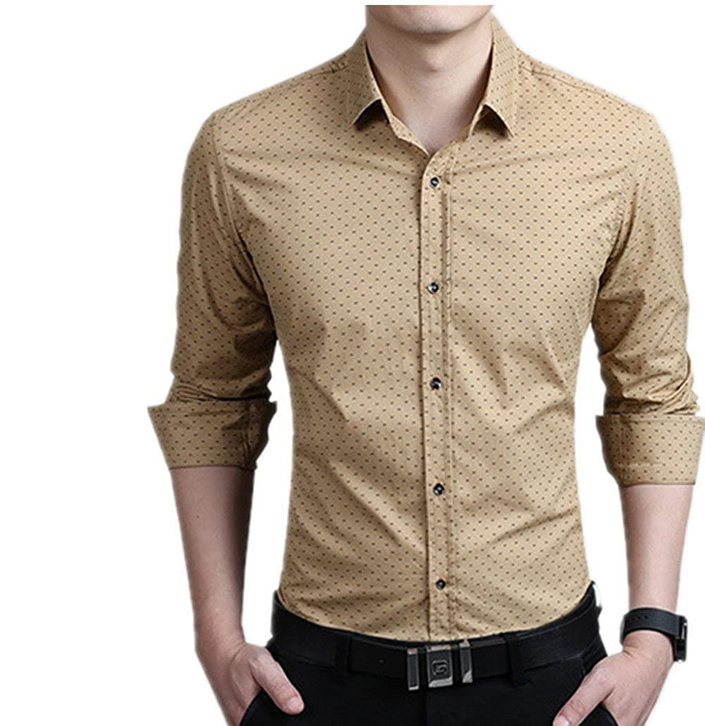 Men Polka Dot Casual Clothes Slim Fit Long Sleeve Shirt