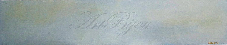 Cuadro Pintura Óleo Original Sobre Tabla, Paisaje Marina Abstracta Azul y Ocre, Regalos para Ella, Regalo Mujer, Regalos para Él, Regalo Hombre