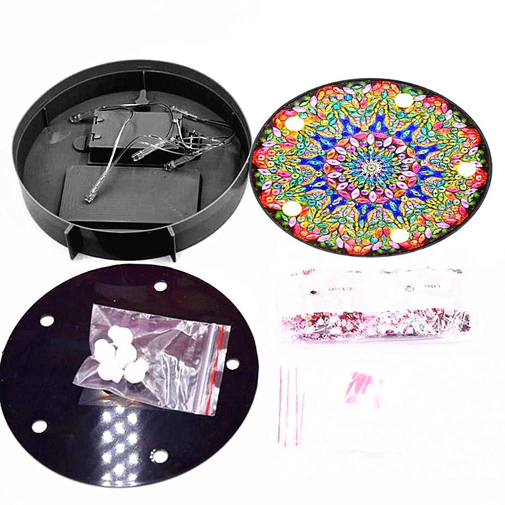 Huacan Diamant Malerei Kit mit LED-Leuchten 5D DIY Special Shaped Vollbohrer B/är Kristall Diamant Zeichnung Nachttischlampe f/ür Hauptdekoration Geschenke