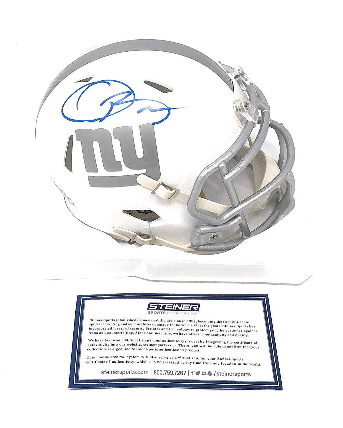 1ceaeed76 Amazon.com: Odell Beckham Jr New York Giants Signed Autograph Blue Ice Mini  Helmet Limited Edition #4/13 MADE Steiner Sports Certified: Sports  Collectibles