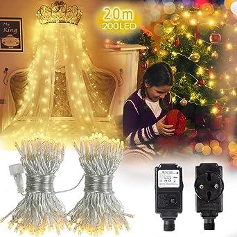 LED Netzstecker String Lichterkette 8 Funktion Garten Weihnachtsbaum im Freien