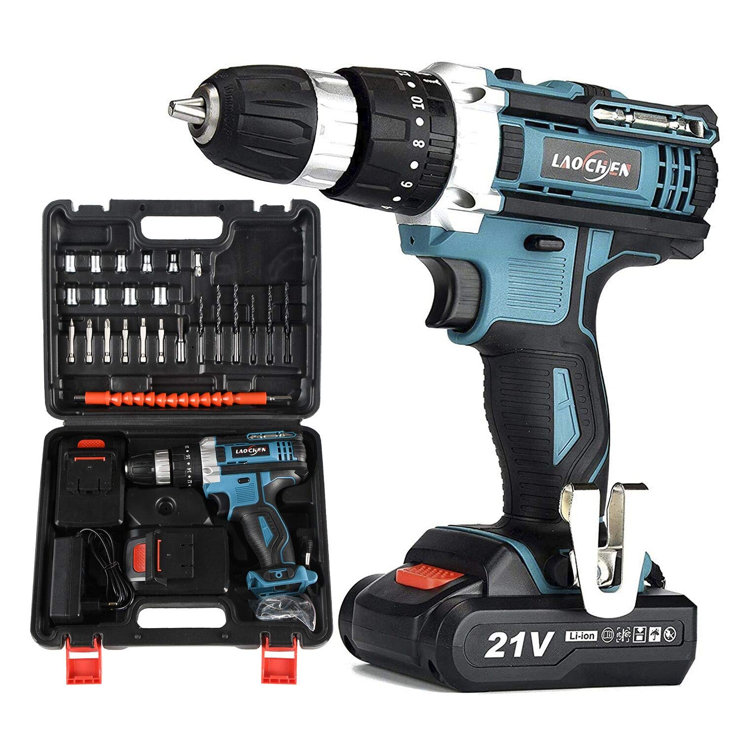 SP-Cow 21V Cordless Drill Driver with Kitbox, Electric Drill Set with powerful 2x1.5Ah Lithium Battery,32Nm Torque, 2-Speed,1H Fast Charging,LED Work Light,Power Tools for Home Improvement DIY Project