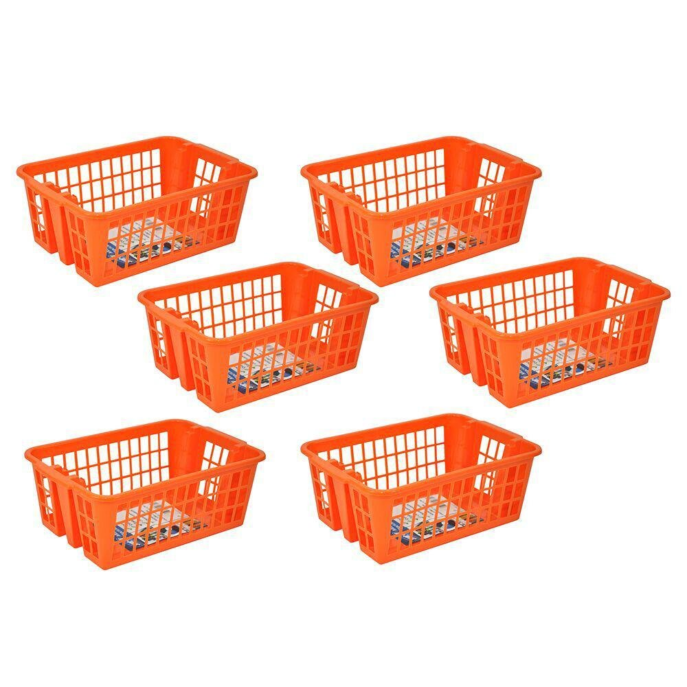 Stor-All Solutions Multi-Purpose Everyday Stackable Baskets and Bins, Large Basket With Holes, 6 Piece, Orange