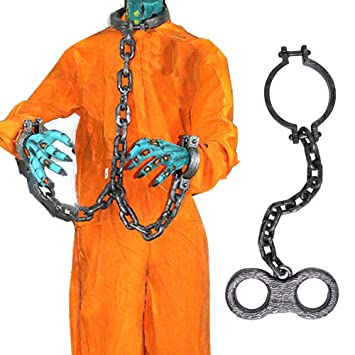 Halloween Giant Plastic Chain Links Wrist Shackles Prison Handcuffs For Halloween Costume Party Cosplay Halloween Decoration  sc 1 st  Amazon.com & Amazon.com: Halloween Giant Plastic Chain Links Wrist Shackles ...