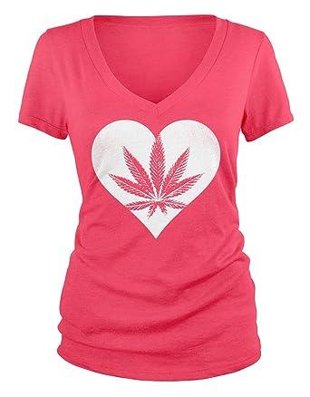 Amdesco Junior's Pot Leaf Heart, I Love Marijuana V-Neck T-Shirt, Azalea Small