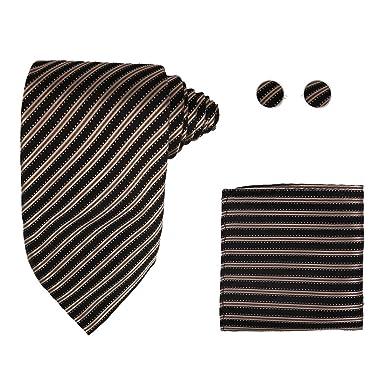 48a4469aa7e3 Y&G H5032 Black Striped Designer For Men Factory Presents Silk Tie Cufflink  Hanky Set 3PT