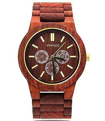 448604428c YFWOOD 木製腕時計 メンズ レディース 木のぬくもり溢れる落ち着いたおしゃれな腕時計 ウッドウォッチ ユニ