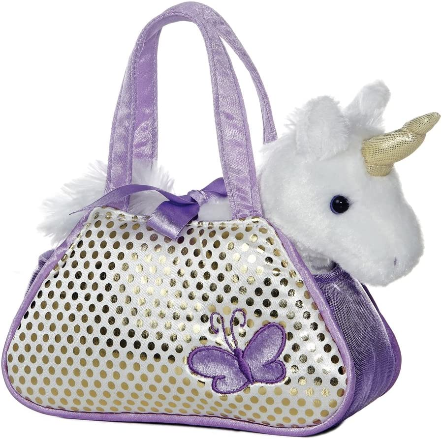 Unicorn Purse Pets  Purse with Gold Strap  with zipper Pink