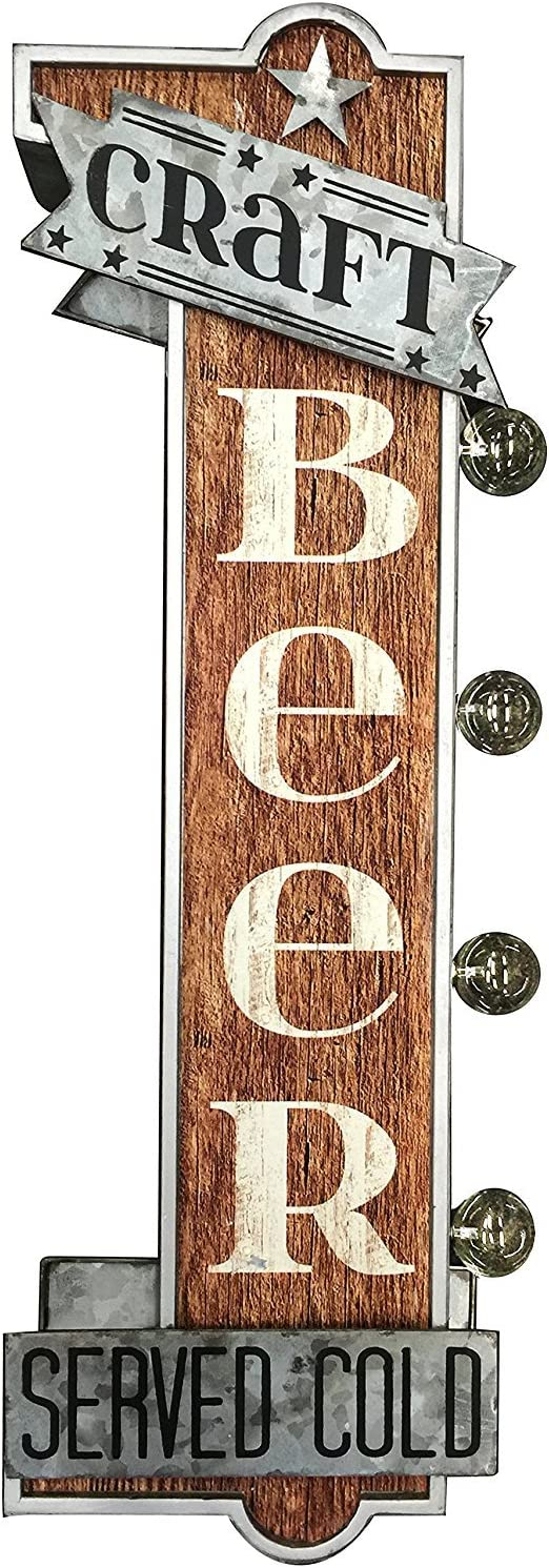 Craft Beer Reproduction Vintage Advertising Sign - Battery Powered LED Lights, Double Sided Metal Wall Mounted - 25 x 9 x 4 inches