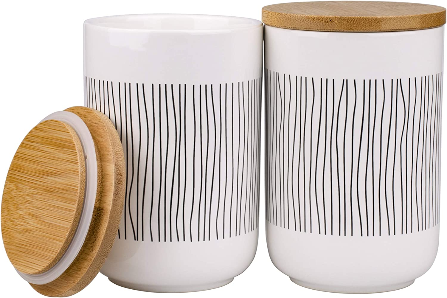 Lawei 2 Pack Ceramic Food Storage Jars with Bamboo Lids - 17 Oz Ceramic Canisters Storage Jars for Coffee, Sugar, Tea, Spice and More