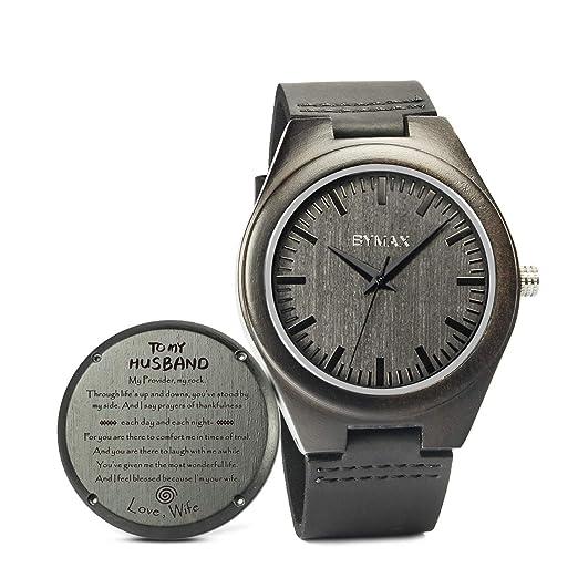 Bymax Reloj de Madera Grabado para Hombre, Reloj de Madera para Marido, Hijo, Novio, cumpleaños Personalizado para Hombres o Mujeres: Amazon.es: Relojes