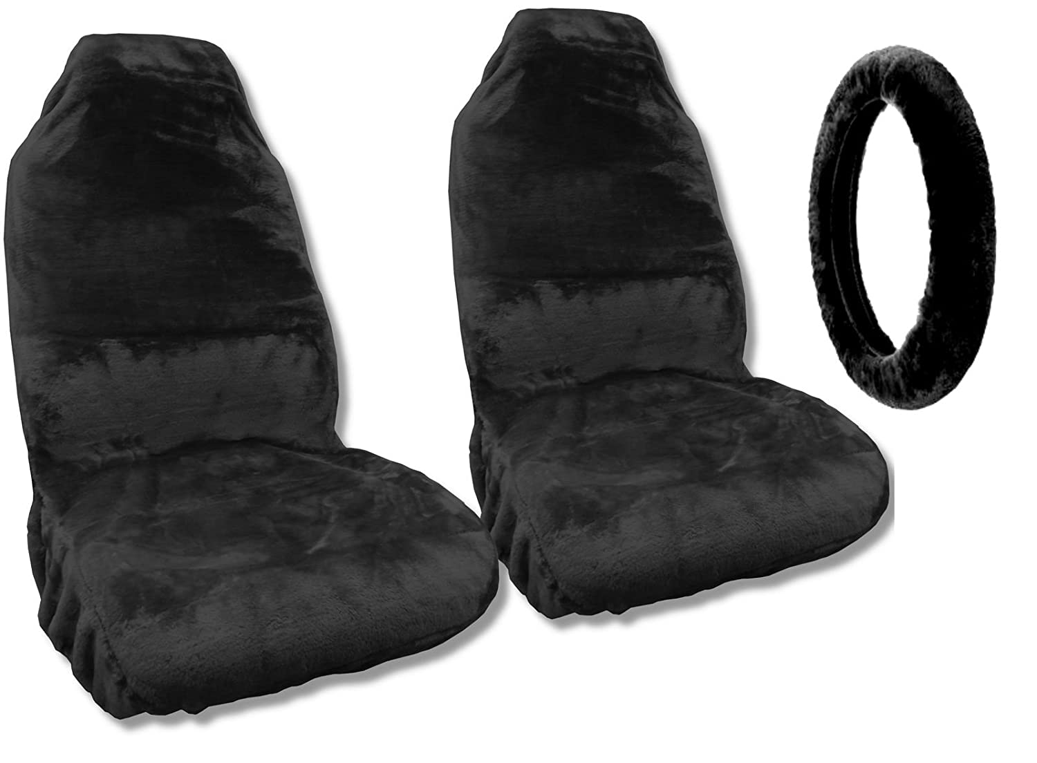 Synthetic Sheepskin Seat Covers Pair Steering Wheel 1942 Chevy Truck Cover Black Plush Fleece Fits Automotive