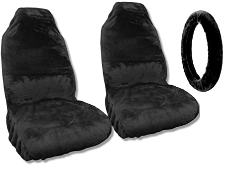 Astonishing Amazon Com Synthetic Sheepskin Seat Covers Pair Steering Cjindustries Chair Design For Home Cjindustriesco