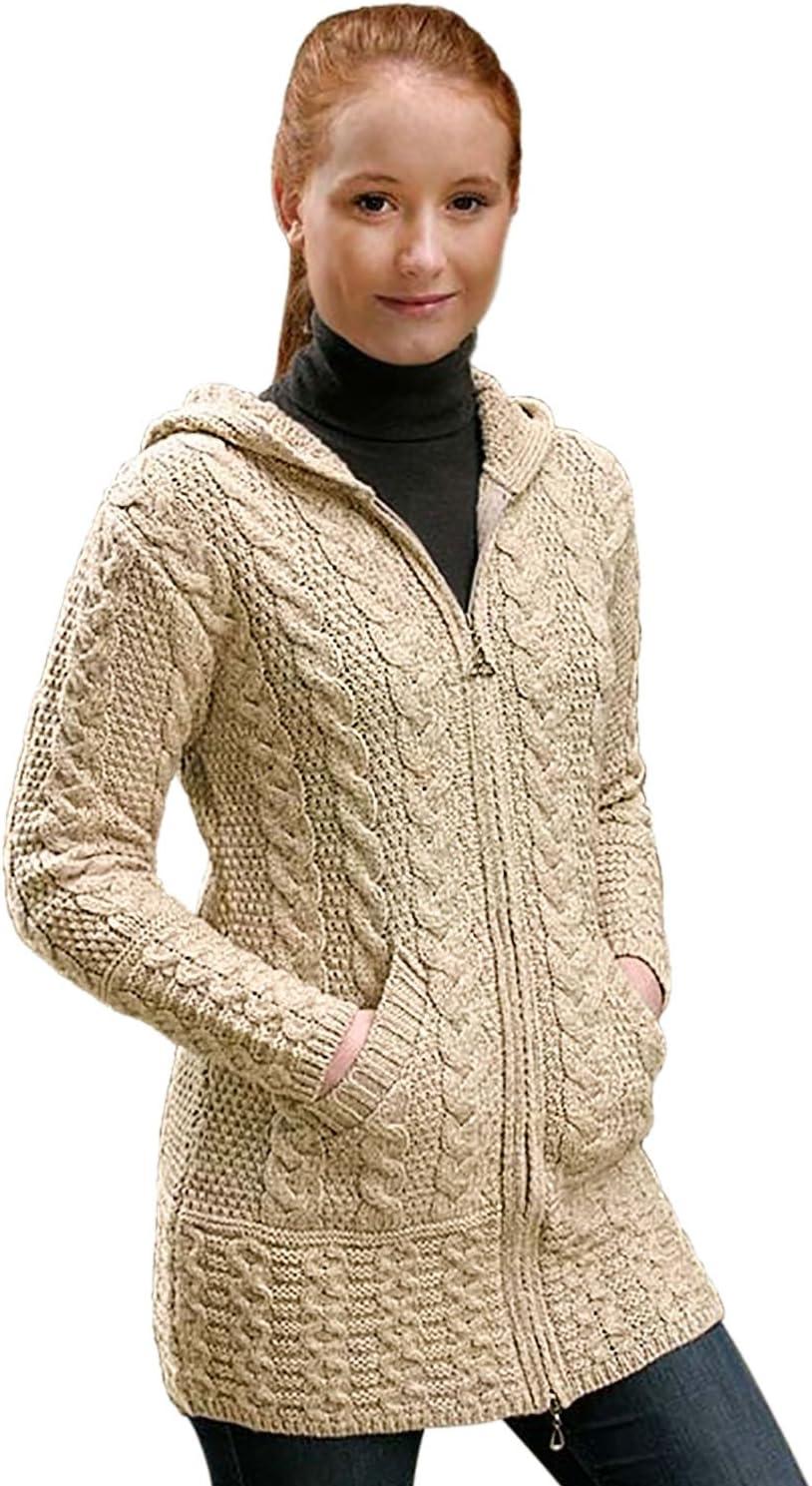 Aran Crafts 100% Merino Wool Ladies Zip Zig Zag Jacket Parsnip
