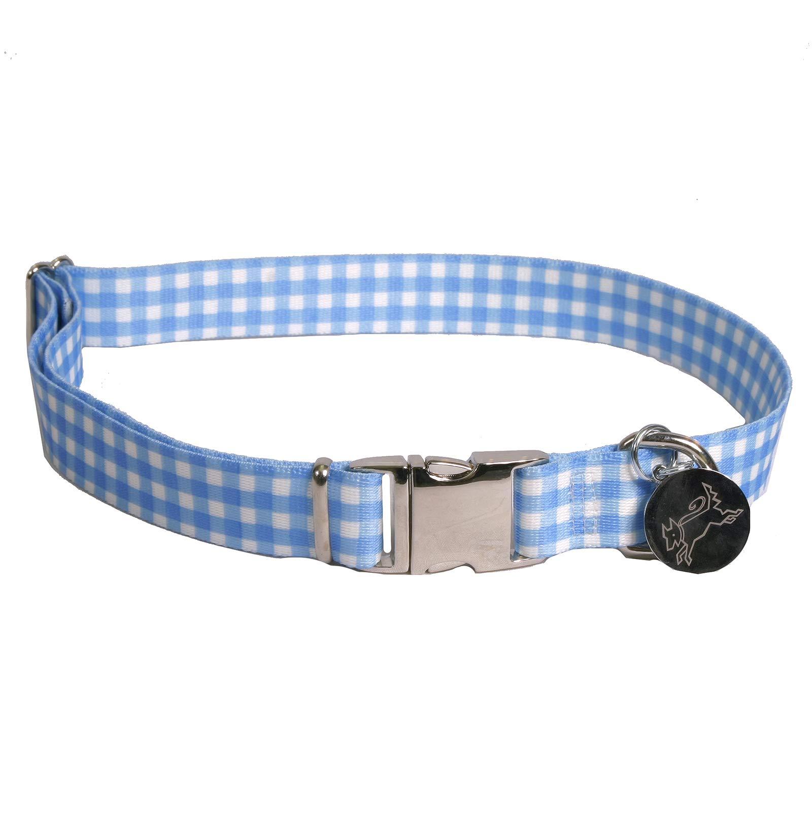 Southern Dawg Gingham Blue Premium Dog Collar - Size Medium 14'' - 20'' by Yellow Dog Design