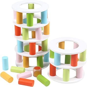 Torre de Bloques de Madera Juego Apilable para niños 56 Piezas (Multicolor): Amazon.es: Juguetes y juegos