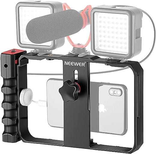 نيوير يو ريغ لفيديو الهواتف الذكية، حافظة صناعة الأفلام، حامل فيديو للهاتف حامل ثلاثي القوائم لآلة تصوير الفيديو صانع الفيديو لجهاز آيفون X XS ماكس XR X هواوي سامسونج، بيد واحدة أو مزدوجة