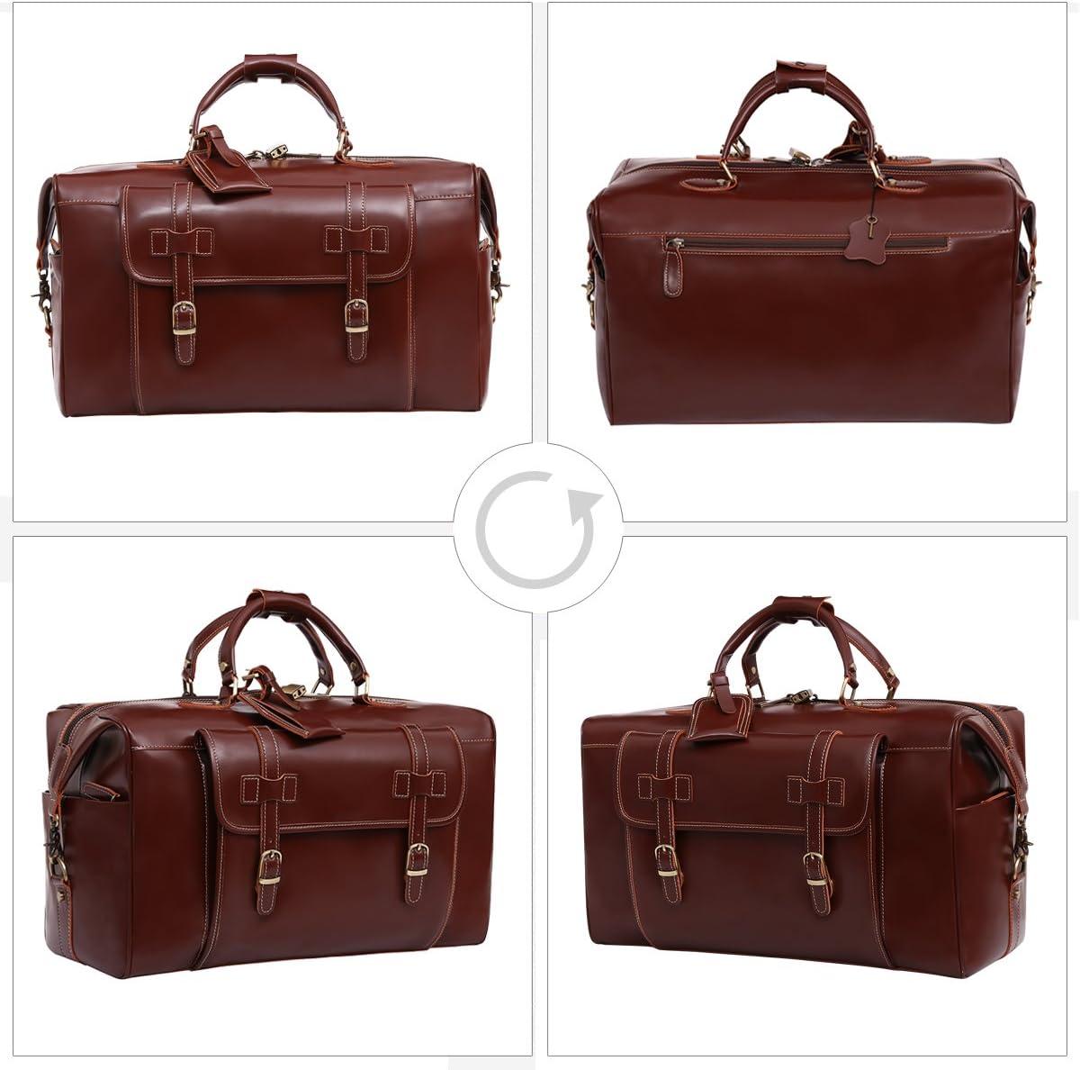 Leathario Mens Genuine Leather Overnight Travel Duffle Weekend Bag Black