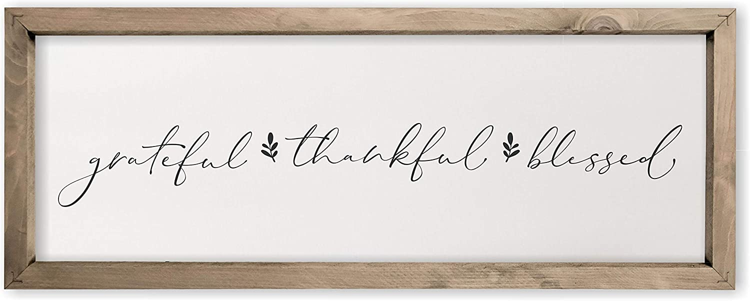Grateful Thankful Blessed Framed Rustic Wood Farmhouse Wall Sign 6x18