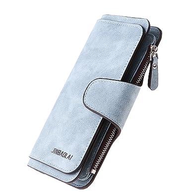 MagiDeal Monedero Largo Mujer de Cuero PU Cartera de Embrague Triple Portatarjetas Porta Moneda Multifuncional 18.5x10.5x2.5cm - azul, 18.5x10.5x2.5cm: ...
