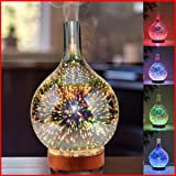 JGHI Essential Oil Diffuser Wood & Glass Aromatherapy with 7 Mood Changing Colors