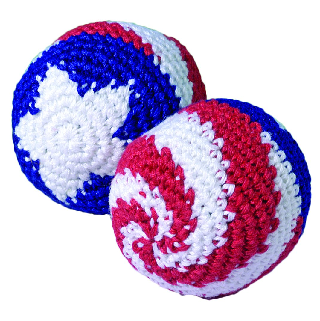 Lot Of 12 Assorted Patriotic Design Knitted Hackie Sacks