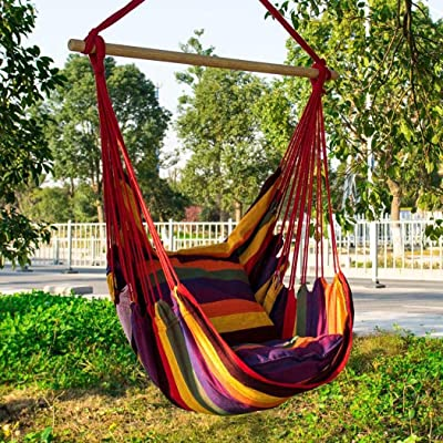 LEANO Max 330 lbs Hanging Rope Hammock Chair Swing Seat, Large Hammock Chair Relax Hanging Swing Chair for Indoor/Outdoor: Industrial & Scientific