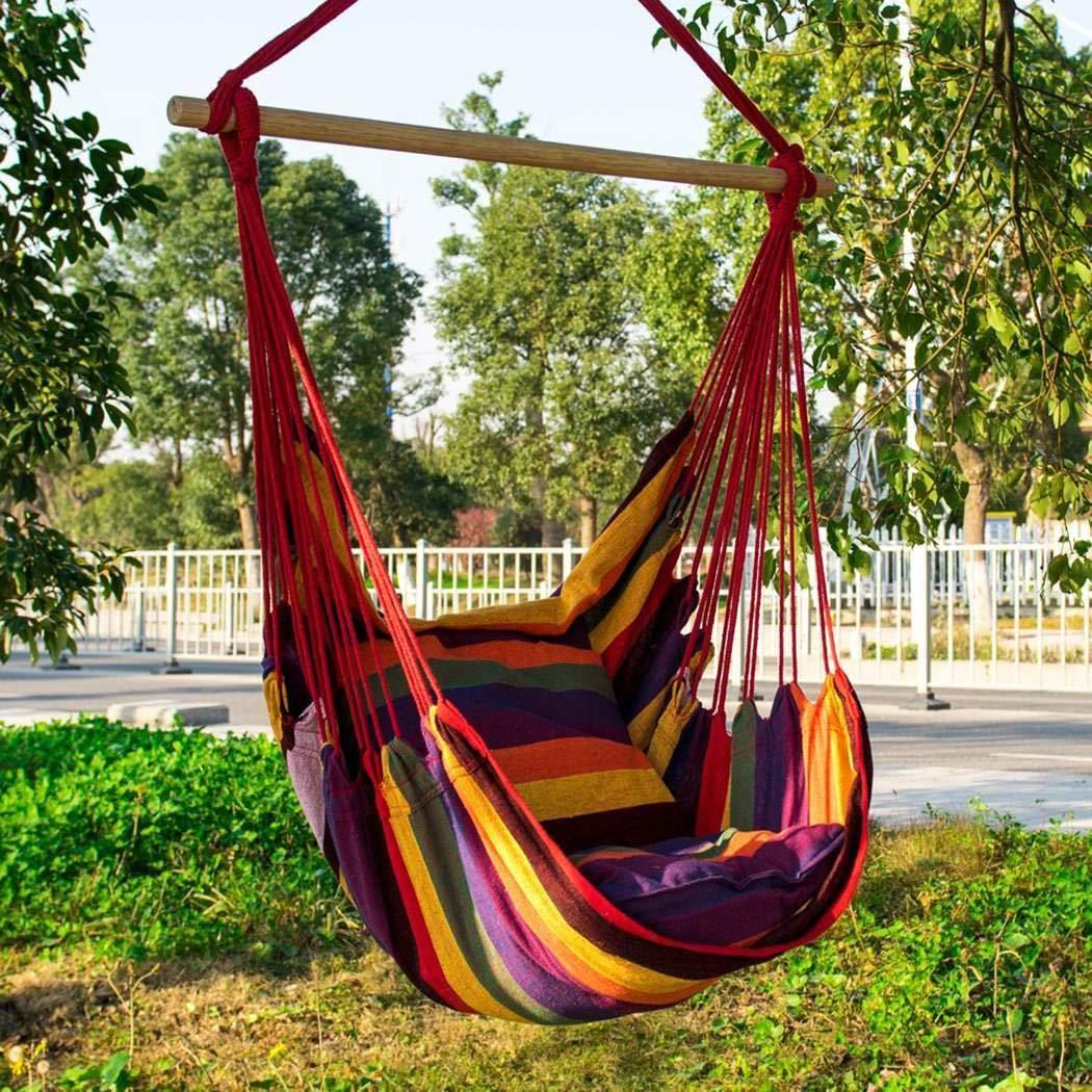 TelDen Canvas Swing Chair Hanging Rope Garden Indoor Outdoor 330 lbs Weight Bearing Hammocks for Yard, Bedroom, Porch