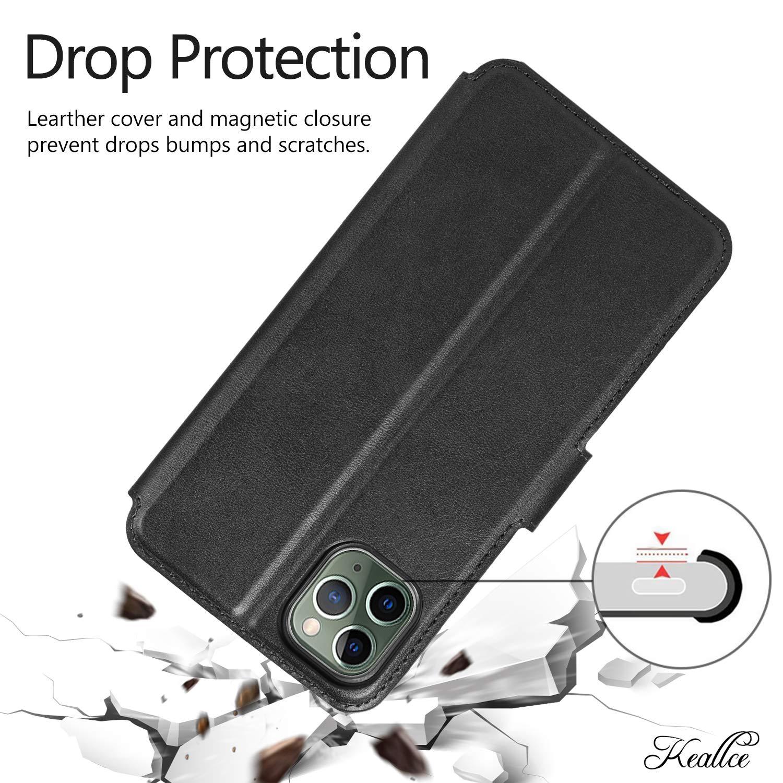 Keallce Coque iPhone 11 Pro Max Housse avec 3 emplacements pour Cartes Support Etui en Cuir PU Anti-poussi/ère /à Fermeture magn/étique pour iPhone 11 Pro Max-6.5 Noir