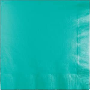 Creative Converting 324771 Touch of Color 500 Count 3-Ply Paper Lunch Napkins, Teal Lagoon