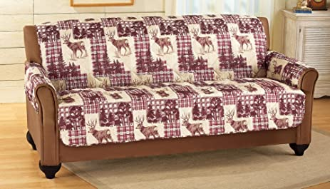 Lovely Woodland Deer Buck Country Quilted Furniture Protector Cover, Sofa