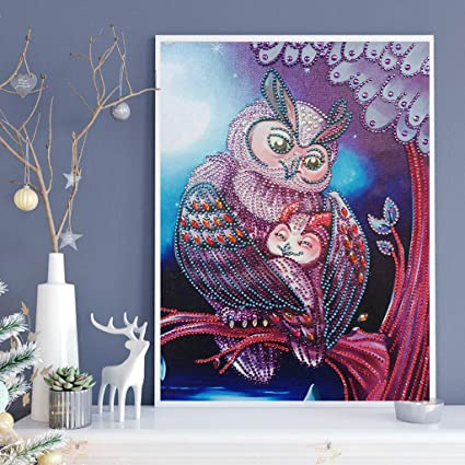 Owl 5D Special Shaped Needlework Rhinestone Painting Embroidery Cross-Stitching Set Arts Craft for Home Wall Decor luosh DIY Diamond Painting