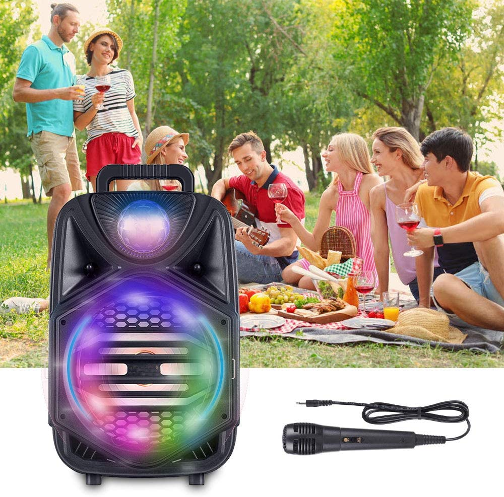 Rechargeable Bluetooth Singing PA Speaker System with Wired Microphone and Disco Lights for Kids//Adults//Indoor Outdoor Party//Speech 8 Inch Portable Karaoke Machine
