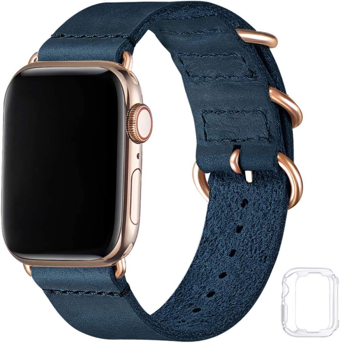 Vintage Leather Bands Compatible with Apple Watch Band 38mm 40mm 42mm 44mm,Genuine Leather Retro Strap Compatible for Men Women iWatch SE Series 6/5/4/3/2/1(Army Blue+Gold Connector, 42mm 44mm)