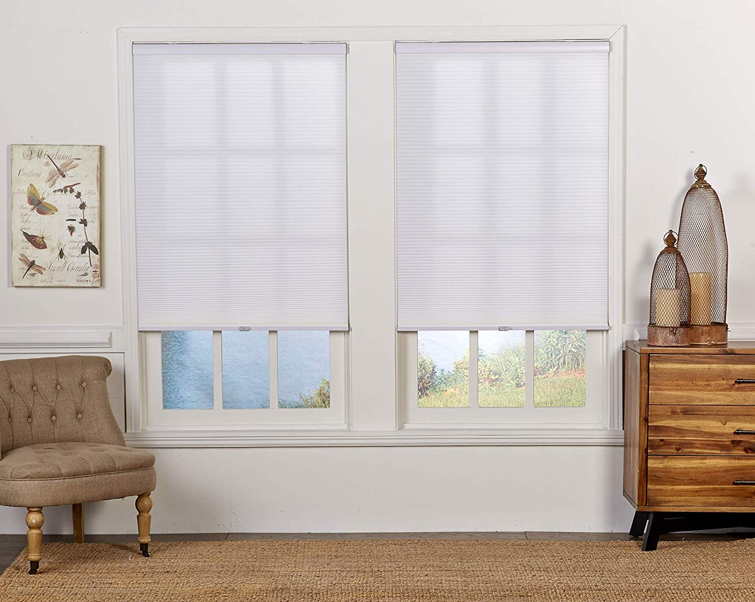 20.5W x 72H Inches DEZ Furnishings QHWT204720 Light Filtering 1.5 Double Cellular Window Shade White