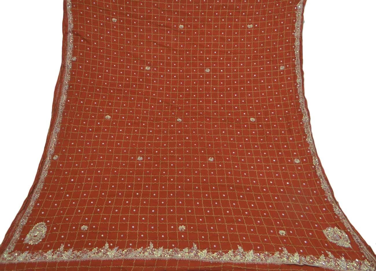 Vintage Dupatta Long Indian Scarf Embroidered Fabric Antique Orange Veil Stole Vintageandyou