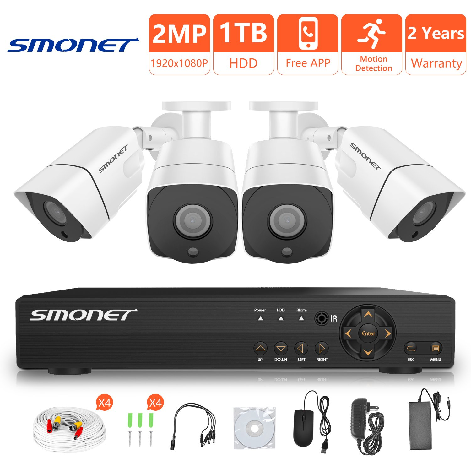 [FULL HD]1080P Wired Security Camera System,SMONET 4 Channel 2MP Outdoor/Indoor Surveillance System with 1TB HDD(AHD CCTV DVR Kits), 4pcs Weatherproof Security Cameras,Nigth Vision,P2P, Remote View