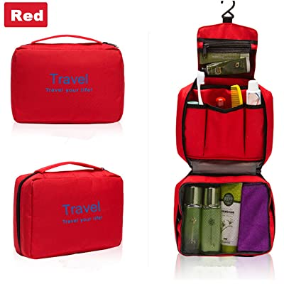 JIAHAO Ladies Portable Multi-function Travel Bag Wash Bag Toiletries Makeup Bag Hanging Grooming Cosmetic Bag Pouch Organizer (Red)