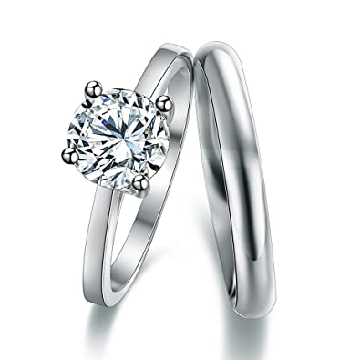 Classic Princess Cut Solitaire Engagement Ring With 3mm D-Shape Heavy Silver Wedding Band Ring In Sizes Complete With Gift Ring Box UkSZj