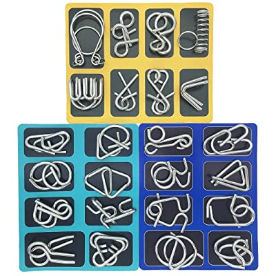 Set of 24 Metal Puzzles Brain Teasers for Adults Kids Bent Nail Puzzle Chinese Brain Toys for Dementia Patients by Kvvdi: Toys & Games