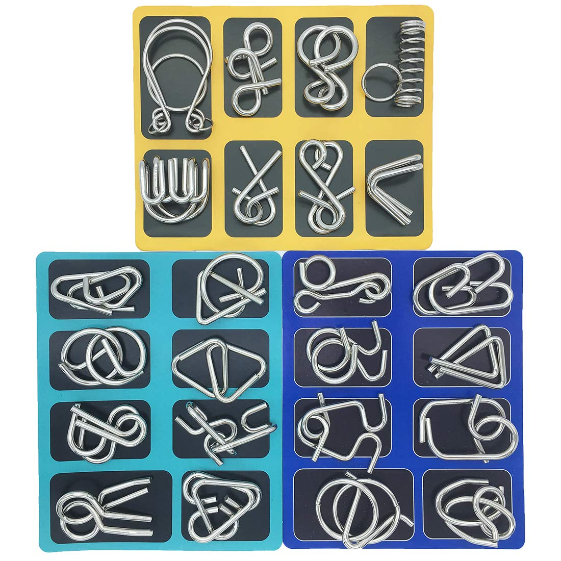 Kvvdi Set of 24 Brain Teasers Metal Puzzles for Adults Nail Puzzle Brain Toys for for Dementia Patients