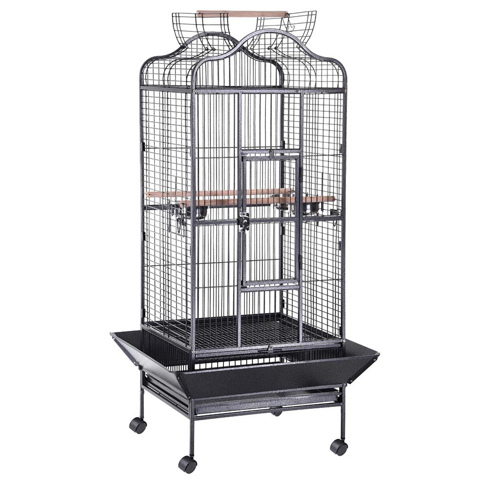 Yescom Large OpenTop Parrot Bird Cage DomeTop PlayTop Vein Black/White Finch House Pet Supply 24''W x 22''D x 61''H