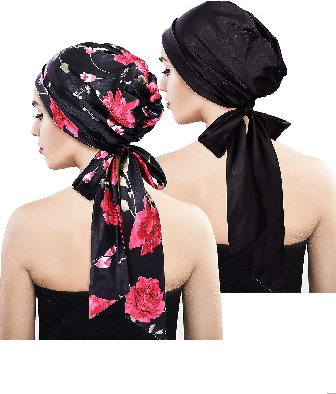 2 Pieces Soft Satin Head Scarf Sleeping Cap Bonnet Headwear Head Cover Turbans for Women