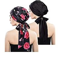 Blulu 2 Pieces Soft Satin Head Scarf Sleeping Cap Bonnet Headwear Head Cover Turbans for Women
