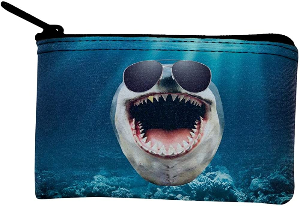 Fashion Space Smiling Shark Womens Zipper Purse Small Canvas Clutch Bag Coin Pouch Wallet