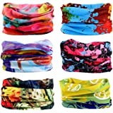 6PCS Outdoor Hair Headband Elastic Seamless Bandana Scarf UV Resistence Sport Head Bands
