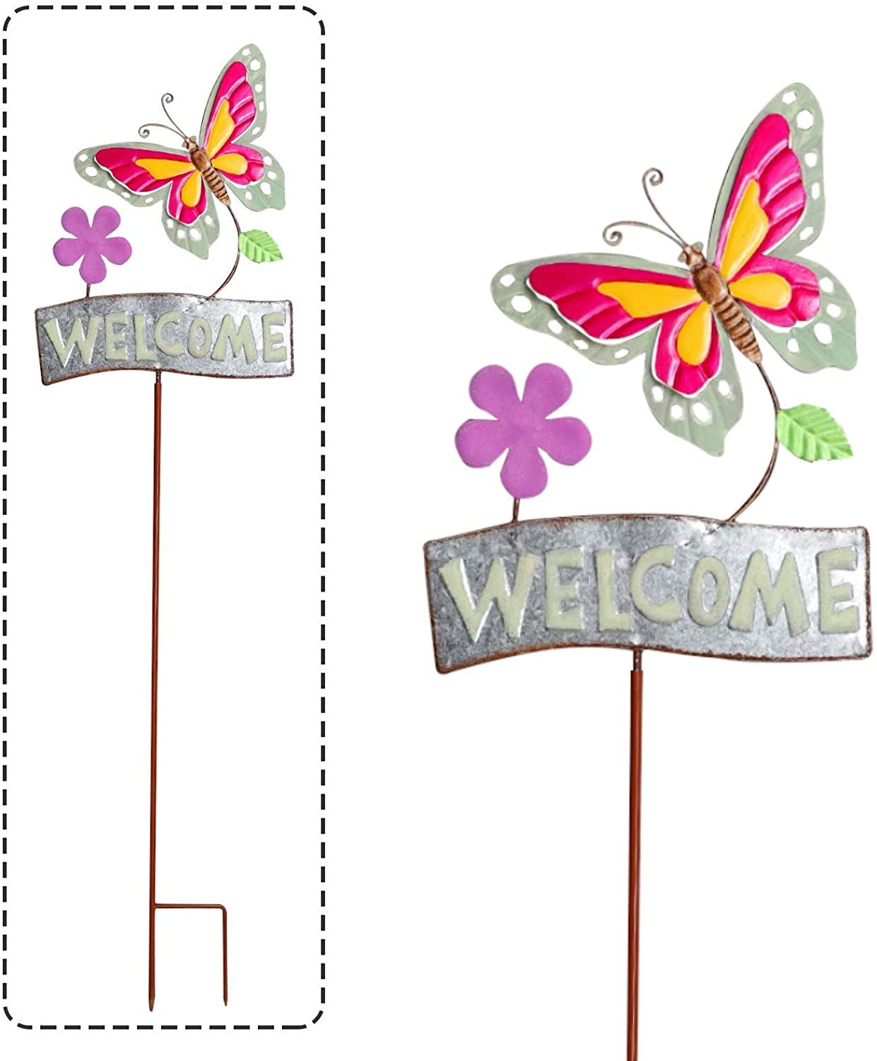 MorTime Metal Butterfly Garden Stake with Welcome Sign, 40 Inch Glow in Dark Outdoor Yard Stake Signs for Spring Outdoor Yard Lawn Pathway Walkway Driveway Decorations
