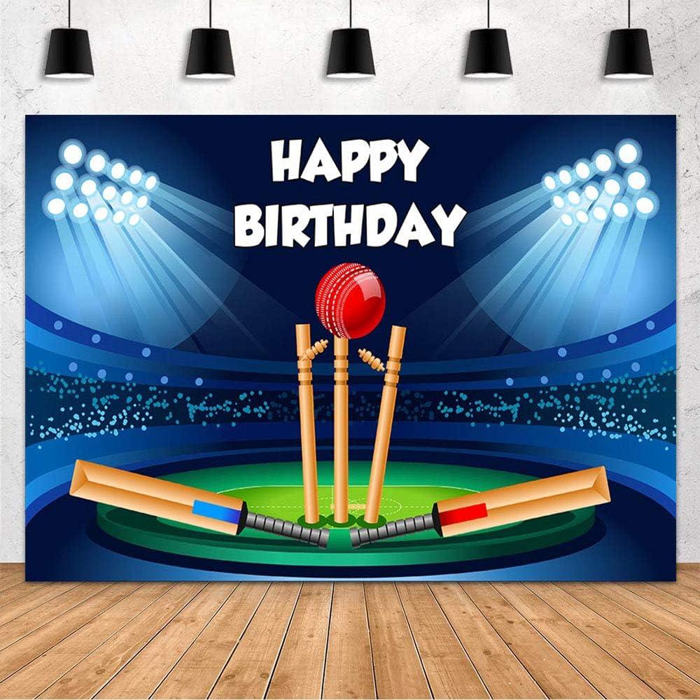 MEHOFOND Cricket Sport Theme Birthday Party Decoration Backdrop Banner Happy Birthday Spotlight Stadium Blue Black Photography Background Banner Studio Photo Props Supplies Vinyl 7x5ft