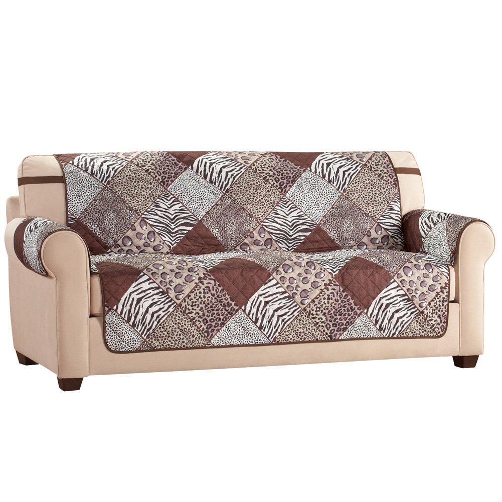 Amazon com collections etc reversible safari animal print furniture protector sofa home kitchen
